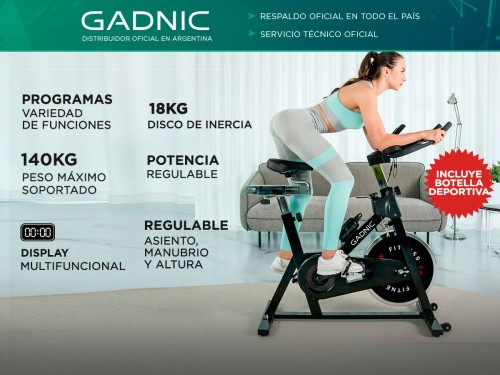 Bicicleta Fija Gadnic B-17 Spinning Disco 18kg Regulable