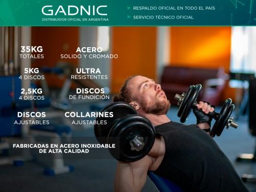 Mancuernas Gadnic Set x 2 Acero Macizo 35kg Total