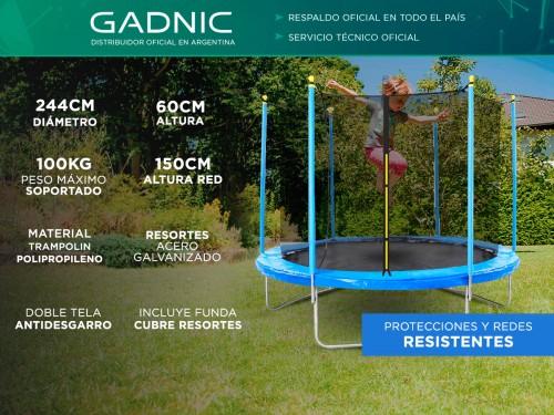 Cama Elástica Gadnic T8FT 2,44 mts con Red de Seguridad Reforzada