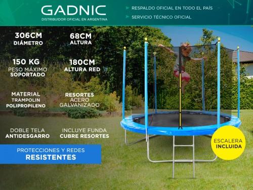 Cama Elástica Gadnic T10FT 3,06 mts con Red de Seguridad Reforzada