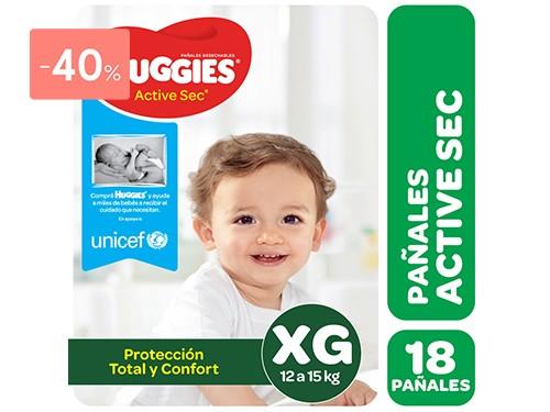 HUGGIES - PAÑALES DESCARTABLES ACTIVE SEC TALLE XG | FarmaOnline