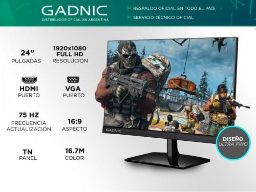 "Monitor GADNIC 24"" Gamer G4D41N-F Full HD 1080p 75 Hz"