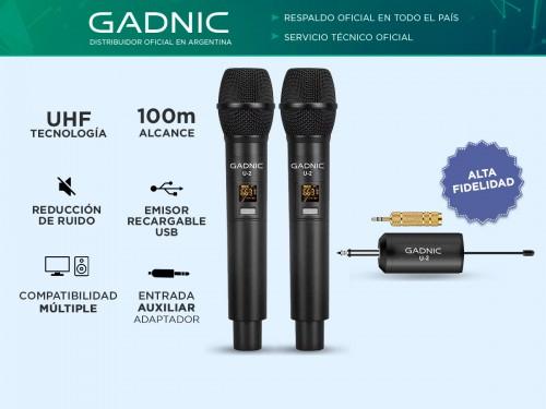 Microfono Inalámbiro Profesional UHF Gadnic U-2