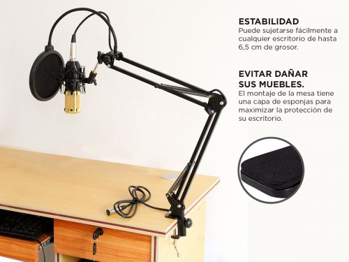 Soporte Para Microfono + Brazo Articulado 36.5 cm