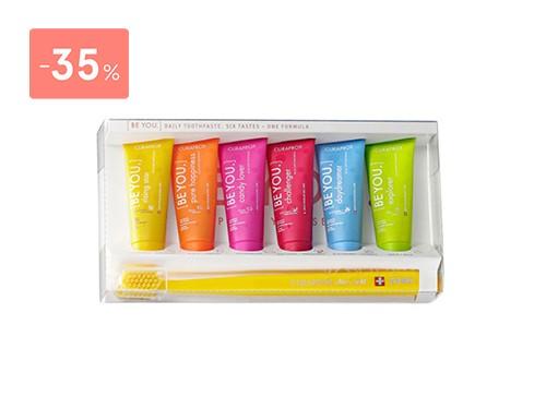 CURAPROX - Kit crema dental blanqueadora six tape be you + cepillo
