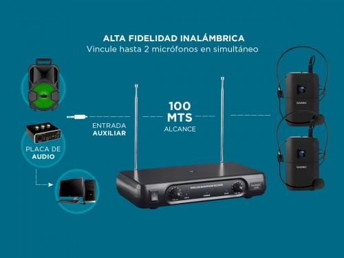 Micrófono Inalámbrico Vincha Gadnic 2CH + 2 Mic