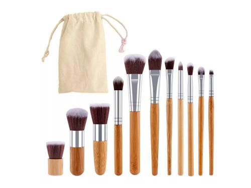 Brochas para Maquillaje Gadnic Bambú x 11 + Bolso