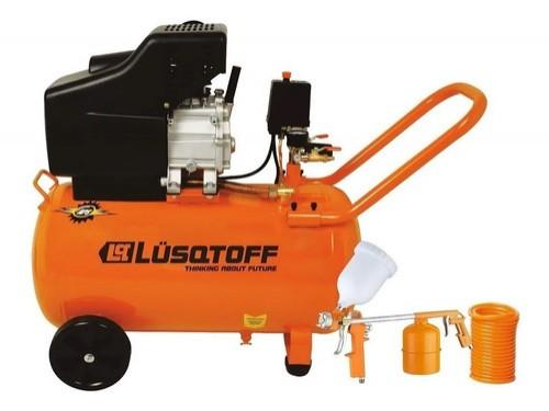 Compresor De Aire 50 Lts Lusqtoff + Kit 3 Piezas Lc-2550bk