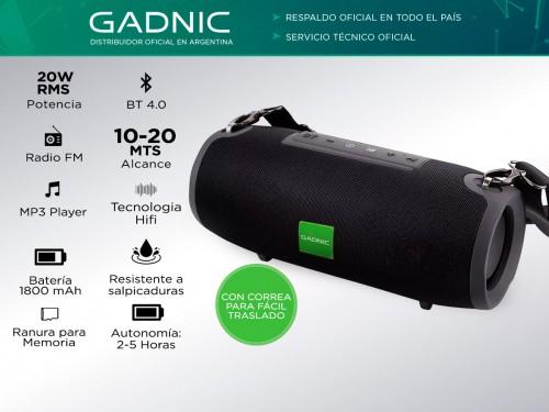 Parlante Gadnic GP200 Bluetooth Portátil Aux USB HiFi 20w Radio FM