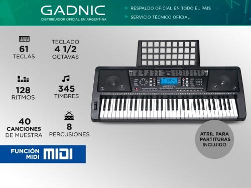 Órgano Eléctrico Gadnic T04 61 Teclas Display LCD Midi 128 Ritmos