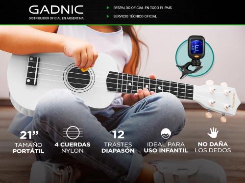 "Ukelele Gadnic Soprano Ideal Niños 21"" Cuerdas Nylon + Accesorio"