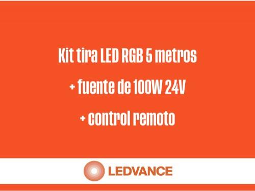 Kit tira LED RGB 5 mts+fuente 100W 24V+control remoto