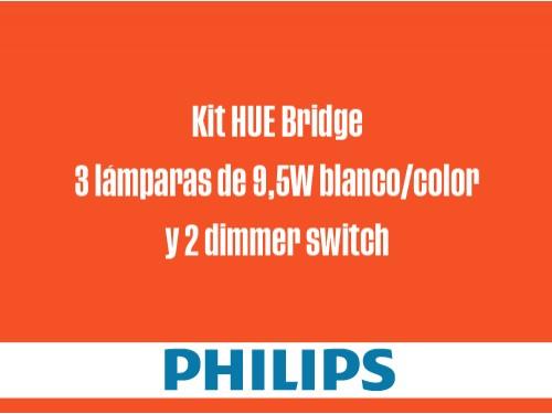 Kit HUE Bridge 3 lámparas de 9,5W blanco/color y 2 dimmer