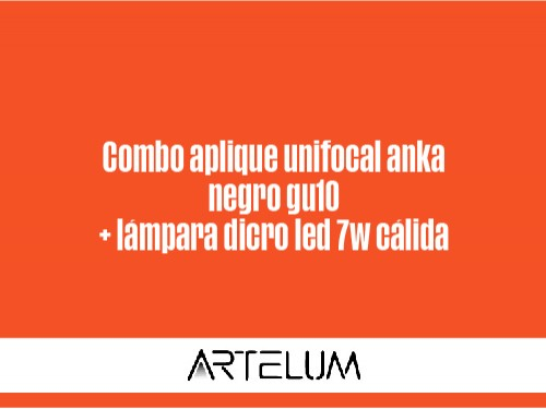 aplique unifocal ANKA negro GU10 c/lamp dicro LED 7W cálida