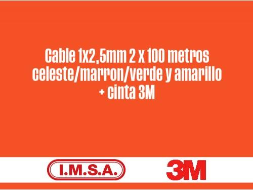 Kit Cable 1x2,5mm x 100ms celeste/marron/verde y amarillo + cinta 3M