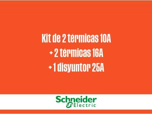 Kit 2 térmicas 10A+2 térmicas 16A+1 disyuntor 25A