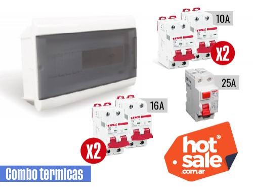 Kit tablero+2 térmicas 2x10A+2 térmicas 2x16A+1 disy 2x25A