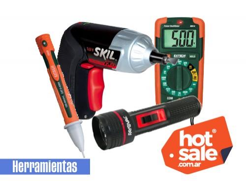 Taladro atornillador linterna multímetro y detector voltaje