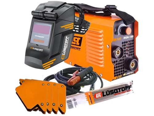 Soldadora Inverter Lusqtoff Iron 100 + Mascara + Electrodos + Escuadra