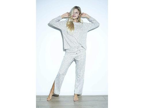 Pijama remera manga larga + Pantalón leopardo Luz de Mar