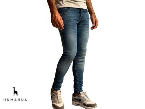 Pantalon Jean Elastizado Azul Chupin Calce Slim Fit Humahua Cielo