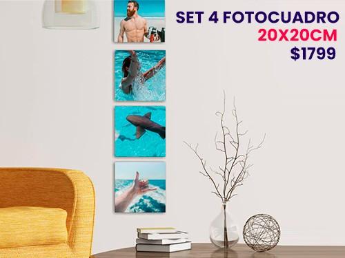4 fotocuadros artísticos 20x20 artfine, impresos sobre tela y bastidor