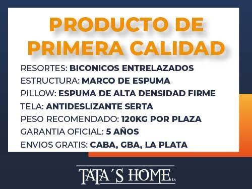 Sommier y Colchon 2 Plazas 140x190x25 Resortes Indiana Serta