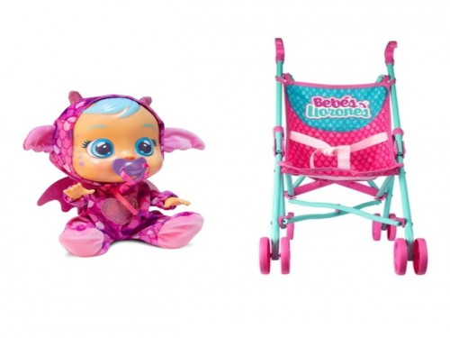 Combo Muñeca Cry Babies + Coche Paraguita Cry Babies