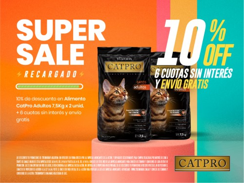 Alimento balanceado premium CATPRO adulto 7,5 kg x 2 unidades
