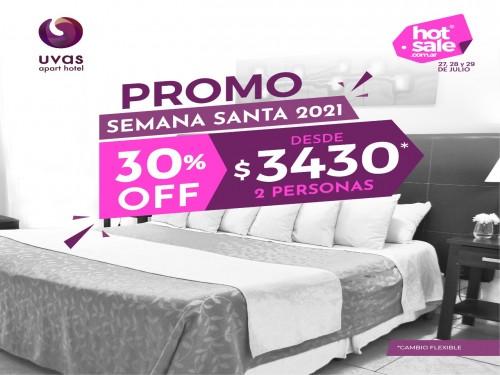 Hotel Mendoza 30% off 2 pers SEMANA SANTA 2021 desde $3430 cambio flex