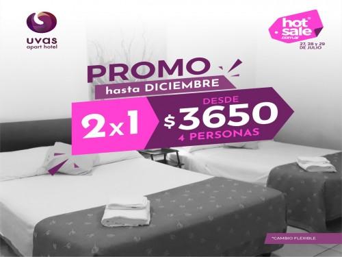 Hotel en Mendoza 2x1 desde $3650 4 personas cambio flex hasta Dic 2020