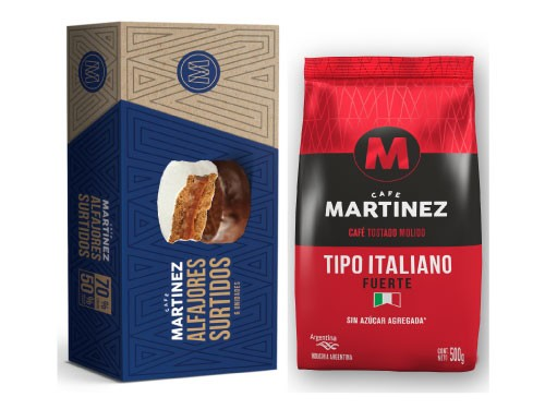 Combo Tipo Italiano 500g + Caja de alfajores surtidos Café Martínez