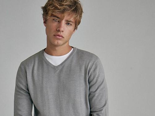 Sweater Kiel, de Hombre escote en V, Liso, Algodón, Equus