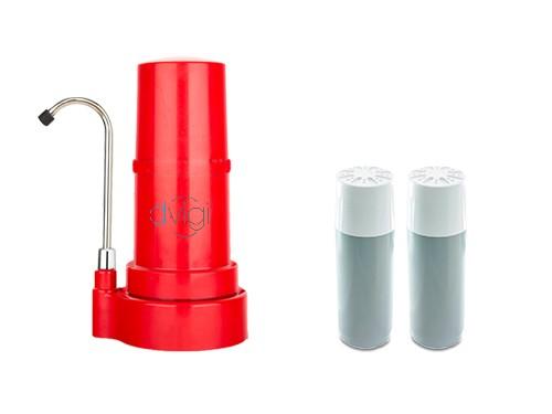 Purificador de Agua Sobre Mesada DVIGI Rojo + 2 Repuestos.