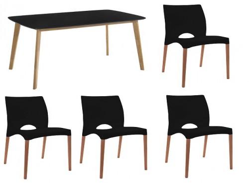 Juego de comedor mesa eames claire 120 x 80 + 4 sillas Cannes