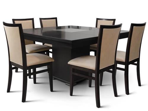 Juego comedor 120x120 silla tapizada madera