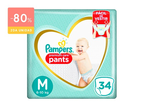 PAMPERS PAMPERS PREMIUM CARE PANTS TALLE M   30 UNIDADES