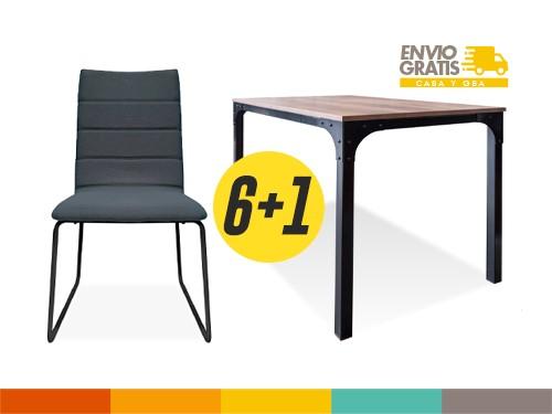 Set de Comedor Mesa Grande Manhattan 6 sillas Casco negro