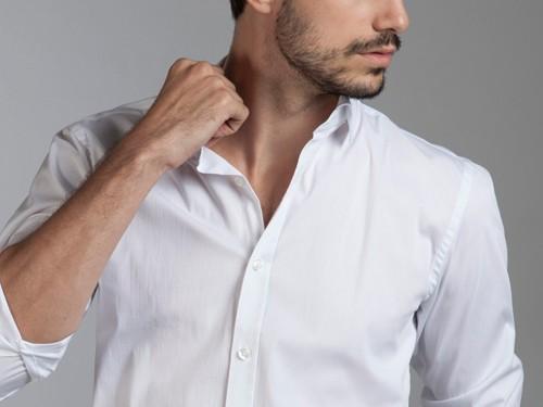 Camisa de Vestir Lisa Slim Fit con Cuello Italiano