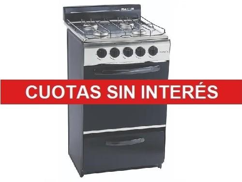 Cocina Martiri Cristal Gas 4 hornallas Inoxidable y Negro