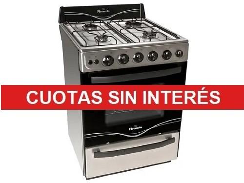 Cocina Florencia 5538f Multigas 56cm 4 hornallas Negro con Plateado