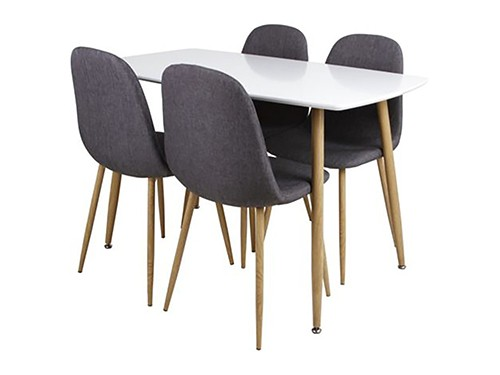 Juego de comedor Scandia mesa + 4 sillas negro