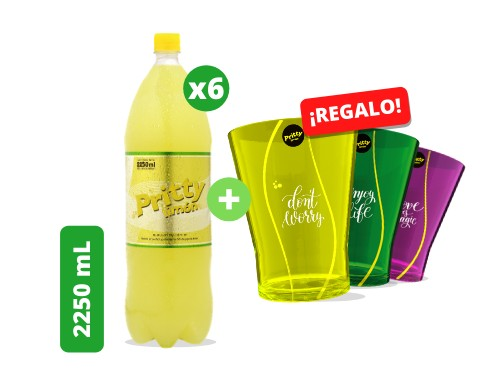 Pritty Limón 2250 mL pack x 6 unidades + 3 vasos acrílicos de REGALO