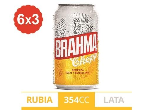 6x3 Cerveza Rubia Brahma Lata 354 ml.