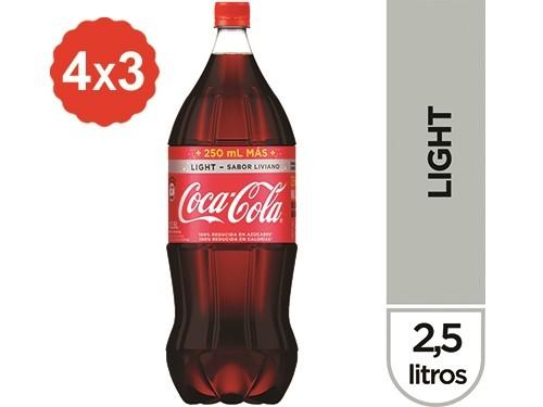 4x3 Gaseosa Coca-Cola Light Sabor Liviano 2,5 Lts.