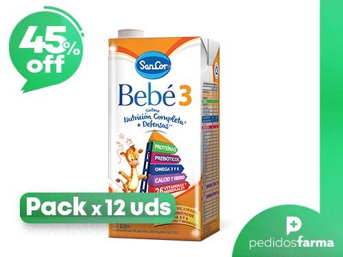 Leche Sancor Bebe 3 (+2 Años) Nutricion Infantil 12 x 1Litro