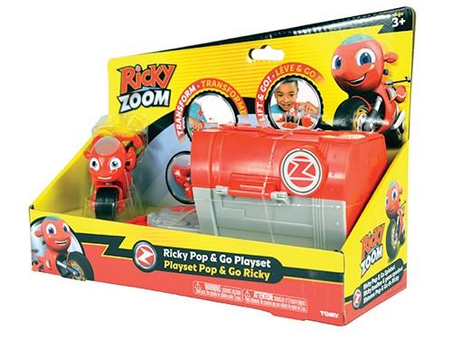 Moto Ricky Zoom Dj Pop Go Playset Garage Transformable con Figura