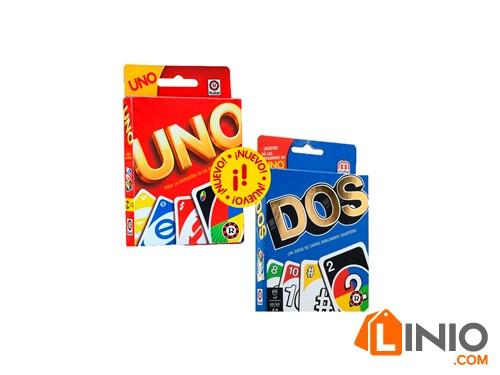 Combo Juego Cartas Uno Y Dos Original Mattel Ruibal