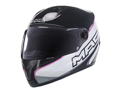 Casco Moto Muer Integral Sigma Negro Rosa Blanco MAC