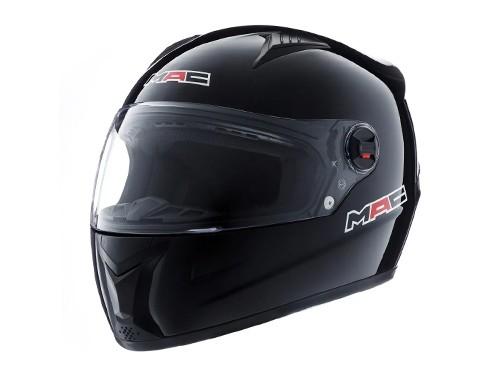 Casco Moto Integral Street Solid Negro Brillo MAC